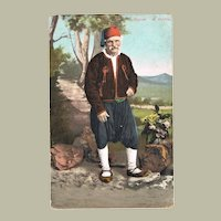 Peasant from Corfu Vintage Postcard with Helgoland Cancellations