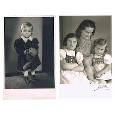2 Vintage Photos Girls with Teddy Bears
