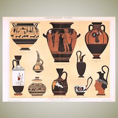 Greek Vases Antique Chromo Lithograph from 1898