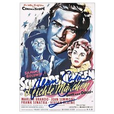 Jean Simmons Autograph, hand-signed small Print after a Poster.
