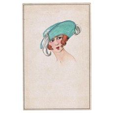 French Art Deco Postcard Lady with fancy Hat Lithograph