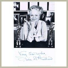 Olivia de Havilland Autograph. Signed Photo and Card