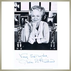 Olivia de Havilland Autograph. Signed Photo and Card