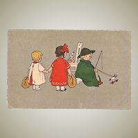 Art Deco Postcard, Girls with Toys. 4 Million Mark Stamps.