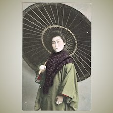 Japanese Tinted Postcard Lady with Umbrella