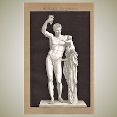 Antique Chromo Lithograph with Hermes Statue 1898