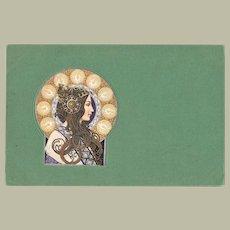 Art Nouveau Postcard with Ladies Head c. 1905