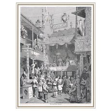 Antique Woodblock Print with Chinese Theater c. 1880