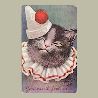 Old Thiele Postcard with Cat from 1909
