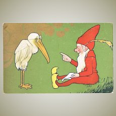 Lithographed Vintage Postcard Gnome and Pelican c. 1905