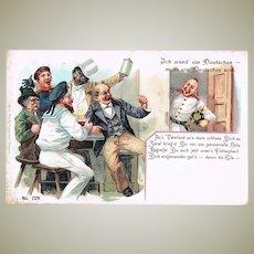 Scarce Chinese Mocking Postcard. German Confederation, 1898