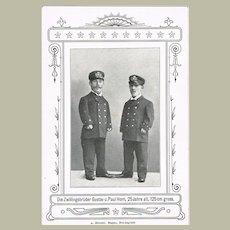 Vintage Postcard with Twin Midgets
