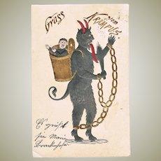 Antique Embossed Krampus Postcard from 1901