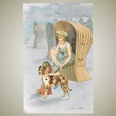 Lithographed Vintage Postcard Lady in Beach Chair with Dog