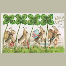 Four Bunnies Embossed Happy Easter Postcard 1902
