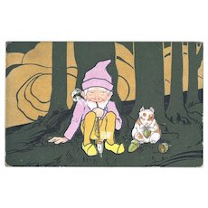 Cute Vintage Postcard with Gnome and Hamster