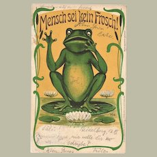 Funny antique Postcard with Frog 1902