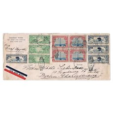 Graf Zeppelin Cover USA to Germany 1929 with 11 Stamps
