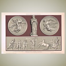 Antique Chromolithograph with Works by Thorwaldsen 1898