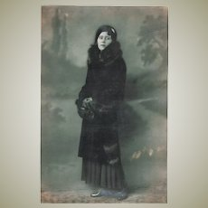 Antique Cabinet Photo of Lady in Fur c. 1905