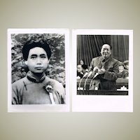 2 Authentic China Cultural Revolution Photos Young Mao Portrait and at Session