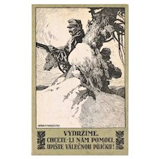 Lithographed Postcard for War Bonds Poster Style