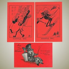 Three old funny Krampus Postacards from WWII period.