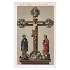 Crucifix from Wechselberg Antique Lithograph from 1900