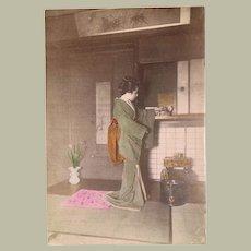 Japanese Albumen Photo Lady in Kimono