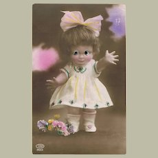 Vintage Postcard of Doll with Plastic Eyes  1928