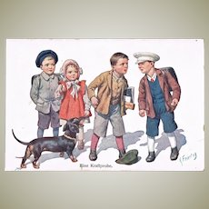 Test of Strength. Kids and Dachshund. Vintage Postcard