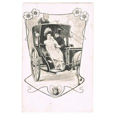 Art Nouveau Postcard of Couple in Carriage. Joker as Driver. 1901