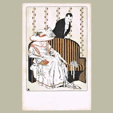 Art Nouveau Postcard with Couple 1908