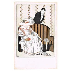 Art Nouveau Postcard with Couple 1908