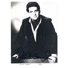 Early Placido Domingo Autograph, 5 x 7. CoA