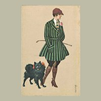 Art Deco Postcard Lady with Pomeranian by Colombo