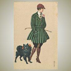 Art Deco Postcard Lady with Pomeranian by Colombo