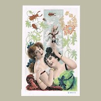 Lithographed Art Nouveau Postcard 2 Ladies and Jumping Jack