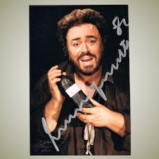 Luciano Pavarotti Autograph on Color Photo 1984, CoA