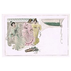 Art Nouveau Postcard 3 Ladies and Tambourine