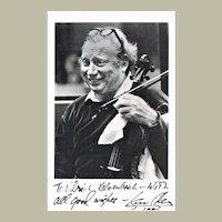 Isaac Stern Autograph. Hand-signed Photo. CoA