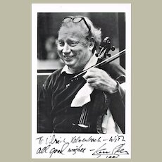 Isaac Stern Autograph. Hand-signed Photo. CoA