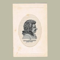 Vintage Postcard with Mozart Portrait as Silk Stitchery
