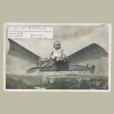 Cute Vintage Postcard Baby on Plane 1910