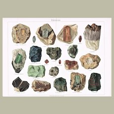 Gem Stones Chromolithograph from 19th Century