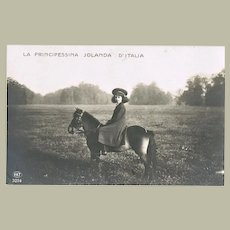 Princess Jolanda of Savoy as Child on Horseback. Old Photo Postcard
