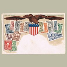 Postcard with American Stamps, Flag and Eagle