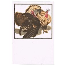 Art Deco Postcard with Turkeys by Bresslern Roth