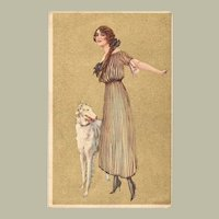 Art Deco Postcard Lady with Greyhound