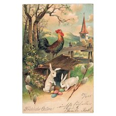 Happy Easter. Embossed, lithographed Postcard from 1905